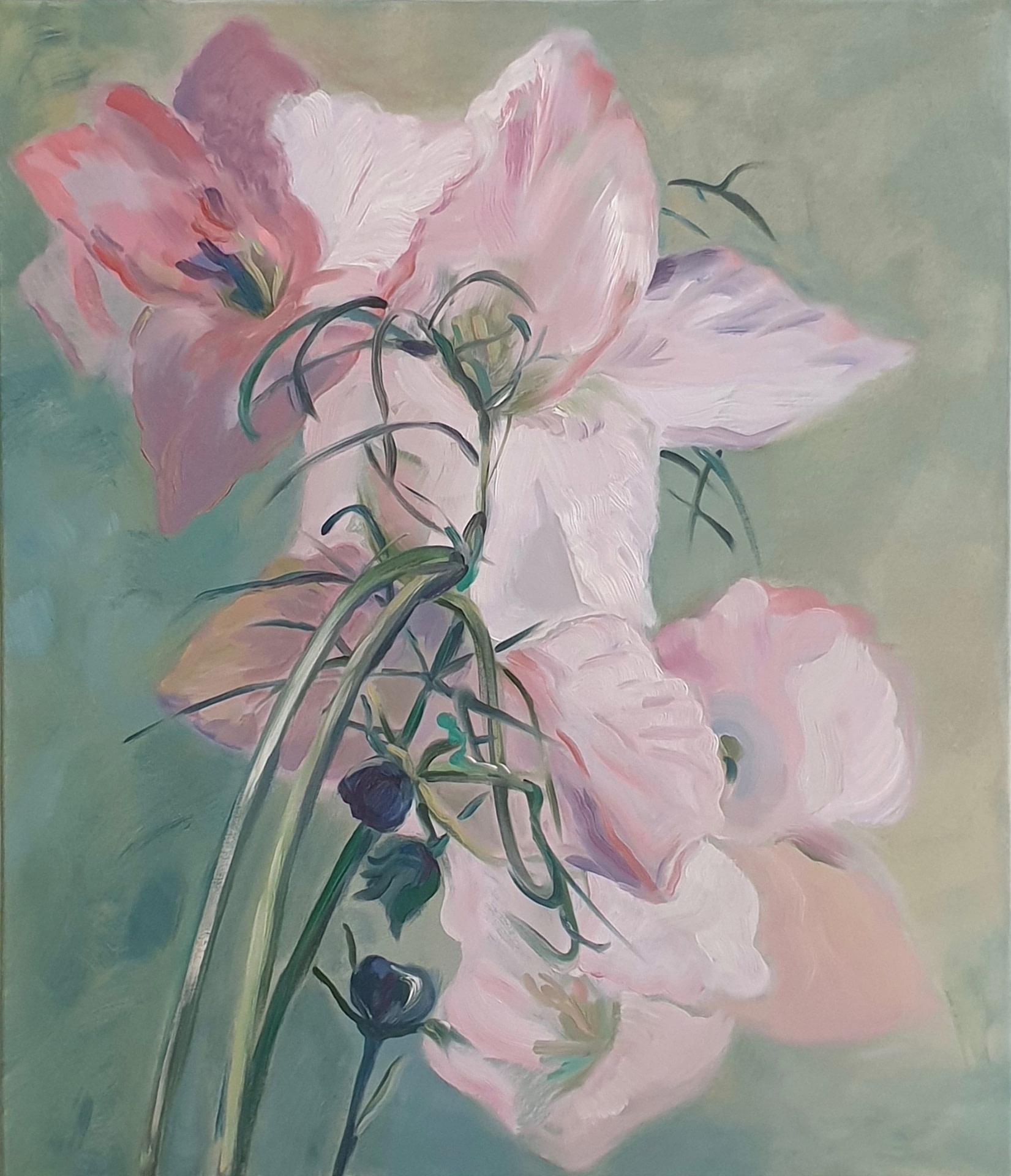Pink on green, olieverfschilderij Jayven Art